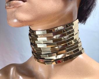 Diamond ancient style neck corset Kayan necklace , African choker ,Asian rings collar , posture neck corset , metal collar