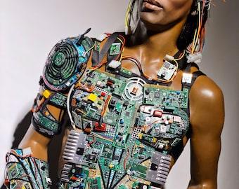 Computer love ,male Breast plate , futuristic cyberpunk