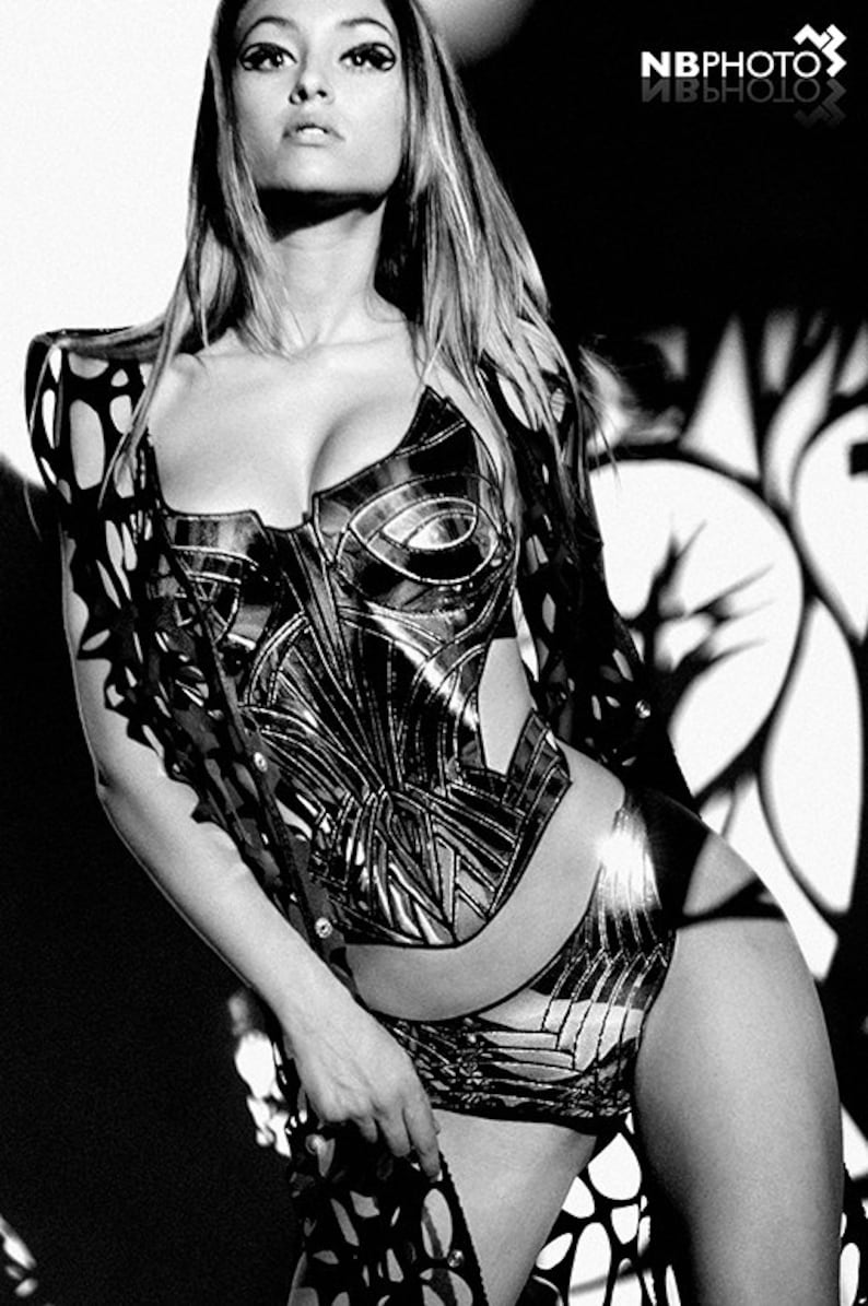 Gold overbust corset sci fi costume harness,armour cyber cyberpunk fetish death metal futuristic clothing goth