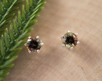 Andalusite Stud Earrings in Real 14k White Gold 4mm Andalusite Studs