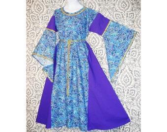 Girl Sz 10 Medieval Cotton Dress Gown w Metallic Trim /& Hanging Sleeves SCA LARP