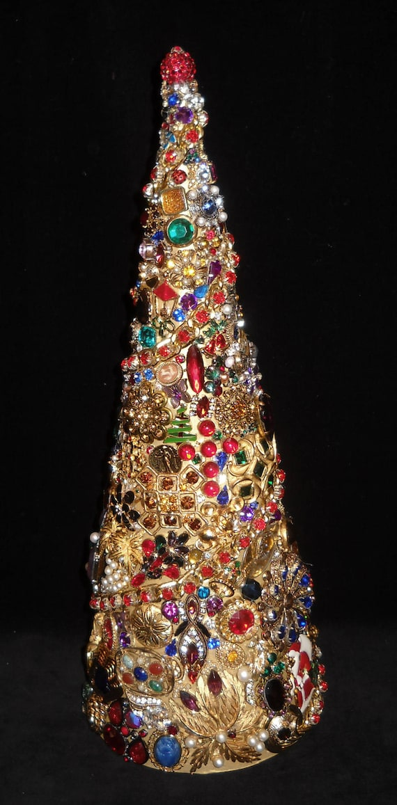 Jeweled Cone Christmas Tree 14 1/2 Vintage-to-New | Etsy