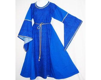 Girl Sz 10 Medieval Cotton Dress Gown w/ Metallic Trim & Hanging Sleeves SCA LARP