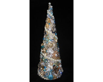 """Jeweled Cone Christmas Holiday Tree 12 1/2"""" Vintage-to-New Jewelry"""