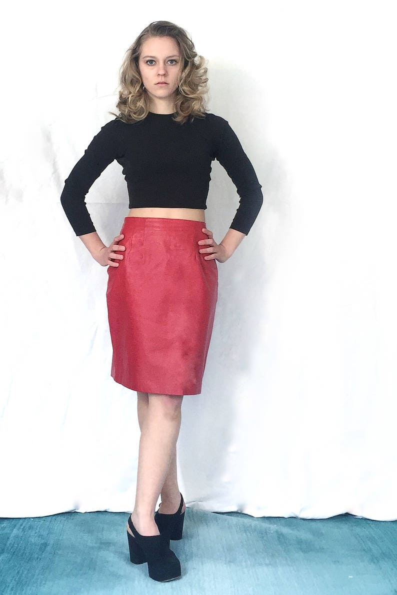 740c82384f Hot 1980s Red Leather Mini Skirt | Etsy