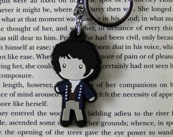 Mr. Darcy Figure Keychain Charm Necklace Jane Austen Pride & Prejudice Book Gift
