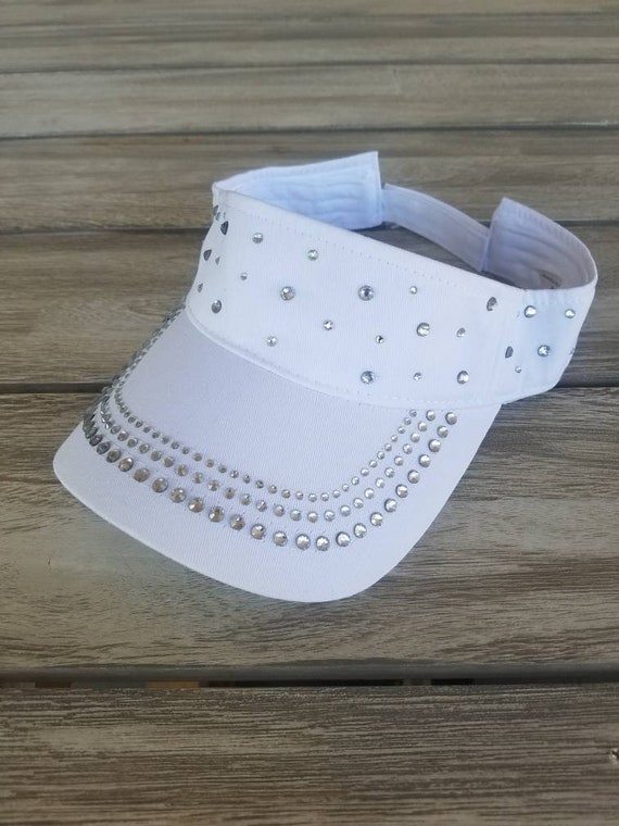 Crystal Sun Visor Bling White Blingy Bridal Ladies Hat Cap
