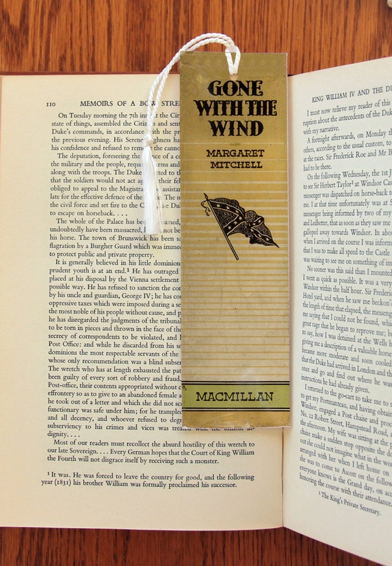 gone with the wind book spine felt tasseled bookmark 2x7 etsy