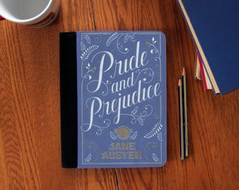 Jane Austen Pride & Prejudice Book Cover Notebook Journal Suede Canvas Cute!