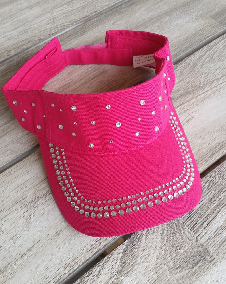 Crystal Sun Visor Bling Hot Pink Cotton One Size Equestrian  d61c63130d3