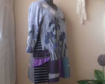 Lagenlook T Shirt Tunic/ Funky Upcycled Long Sleeve Top/ Large to 2X