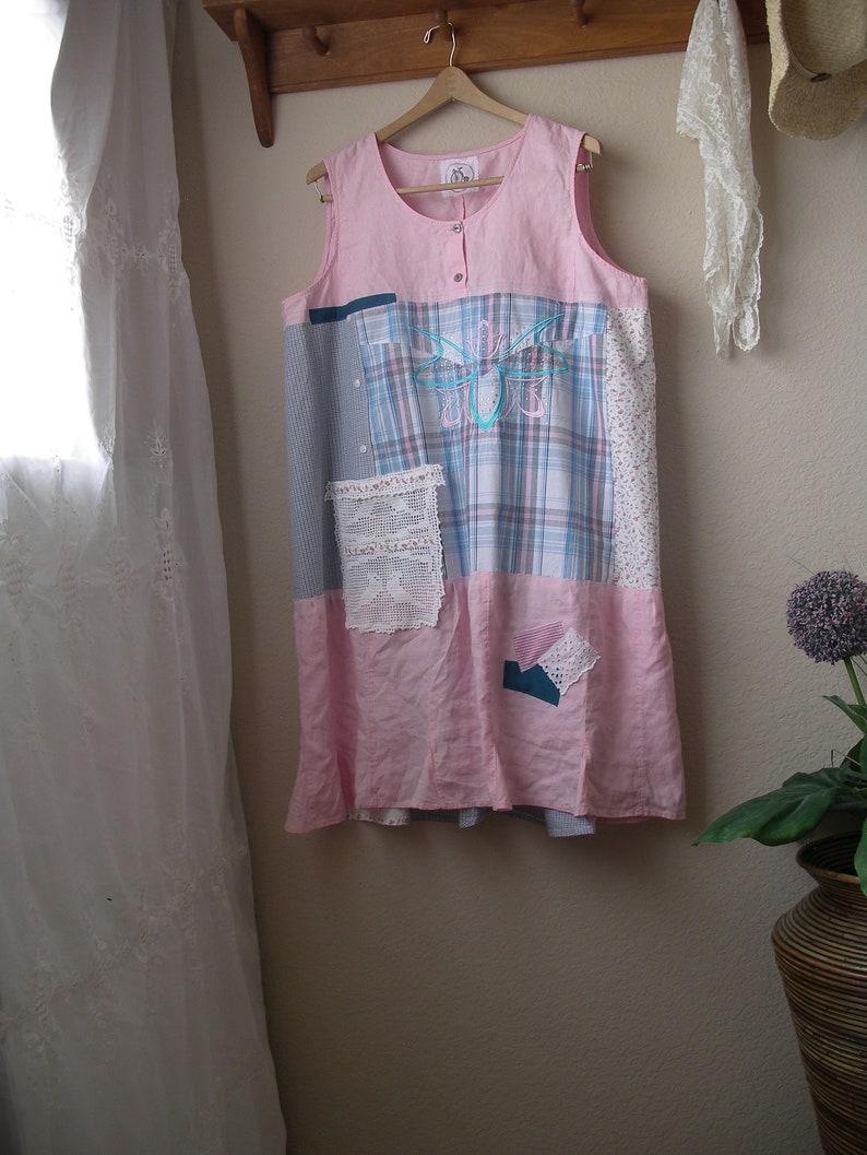 48126c13 Plus Size Linen and Cotton Sleeveless Dress/ Upcycled Shabby | Etsy