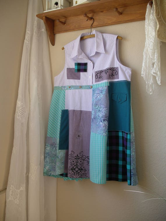 Large Sleeveless Upcycled to Cotton Summer Dress XL Patchwork Tunic 4FFxqZYgw