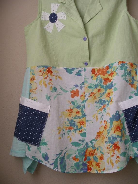 and Linen Top Art Lagenlook Top Medium Summer Cotton Upcycled Wearable Blend nOqC0BF