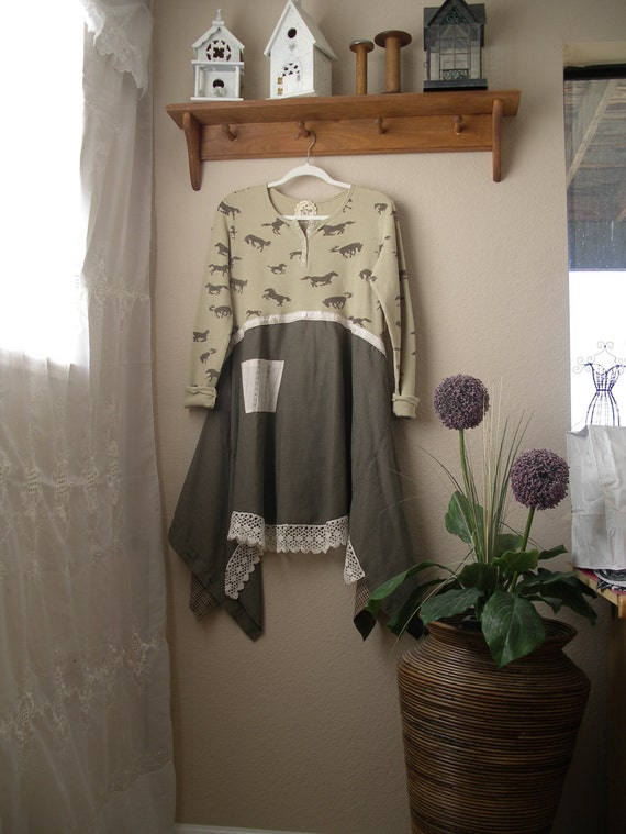 to Tunic Girl Lagenlook Top Repurposed Boho Large Western Clothing Medium Prairie qzx5xAIw