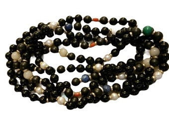 """14K Gold Pearl, Onyx & Gemstone Beaded Rope Necklace 46.75"""" JS12"""