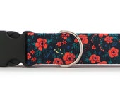 Vintage Poppy Dog Collar (Martingale, Buckle or Tag)