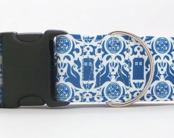 Who Damask WHITE CANVAS Dog Collar (Martingale, Buckle, or Tag)