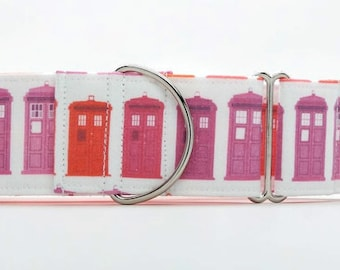 Sunset Police Box CANVAS Dog Collar (Martingale, Buckle, or Tag)