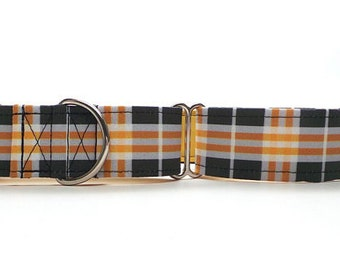 Black and Yellow Plaid CANVAS Dog Collar (Martingale, Buckle or Tag)