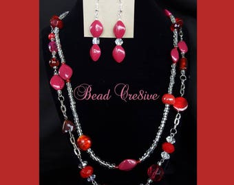 Multi red beads jewelry set