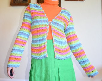 90's Rainbow Crocheted Cardigan