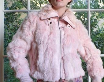 Bubblegum Pink Rabbit Fur JAcket