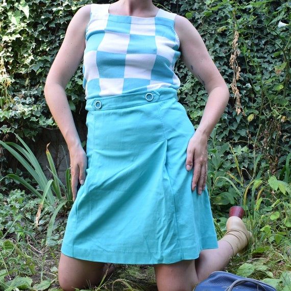 Courreges Teal Checkered Dress