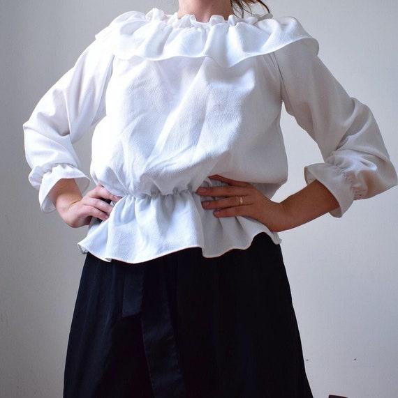 Vintage White Ruffle Blouse - image 1