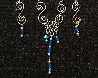 Sapphire and Silver Swirl Necklace Set