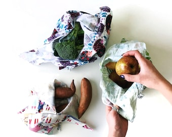 BENTO BAGS. Cloth bag with tie closure for all kinds of goodies. Great for bulk grocery shopping, traveling, and lunch packing.