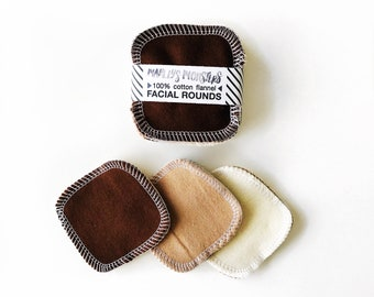 """20 Reusable 3"""" FACIAL ROUNDS made from flannel scraps in naturals."""