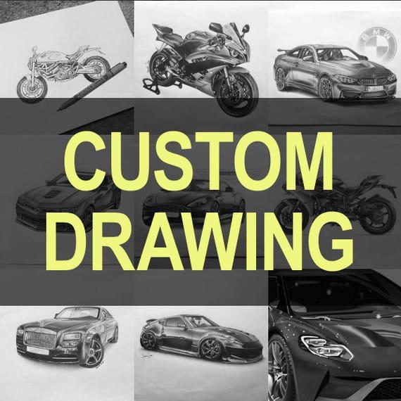 Dessin Moto Custom dessin de moto custom | etsy