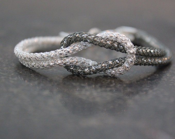 Black and White Infinity Love Knot Bracelet