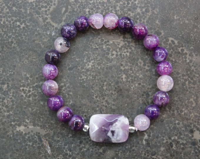 Amethyst Mala Meditation Bracelets - Spirituality, Peace - Yoga Inspired Jewellry - Gift for Her - Stocking Stuffer