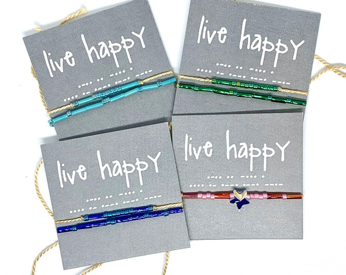 Words To Live By: Morse Code Wish Bracelet - Live Happy, Live Grateful - Kindness Bracelet