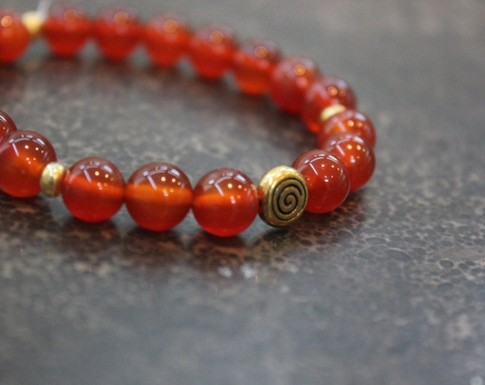Red Agate Mala Meditation Bracelet - Infinite Courage and Strength - Yoga Inspired Jewellry - Gift for Her - Stocking Stuffer