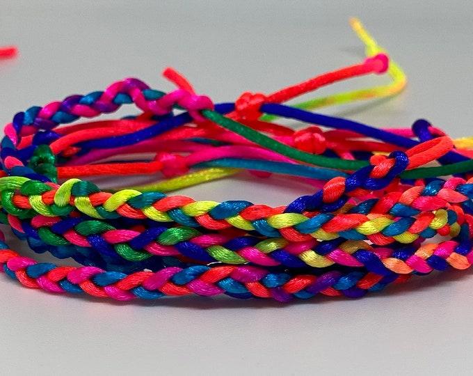 Braided silk cord rainbow bracelets - 5 packs
