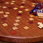Scrabble Board Game Art (Sapele W/ Cherry Wood Accents)(Round)