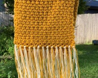 Mustard Chunky Weave Scarf