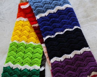 Colour Block Ridge Ripple Scarf - PDF Pattern Only