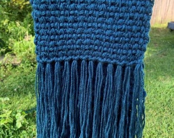 Blue Chunky Weave Scarf