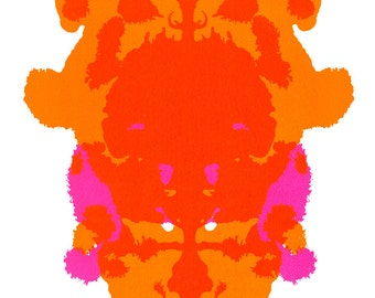 Rorschach #1: Limited Edition Hand-Printed Silkscreen Print in Neon Orange and Pink