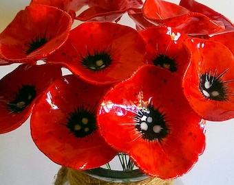 Ceramic poppy flowers 5 fabulous hand crafted pottery poppy etsy ceramic poppy flowers 3 fabulous hand crafted pottery poppy flowers remembrance day mightylinksfo