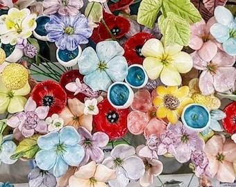 10 medium  size ceramic flowers