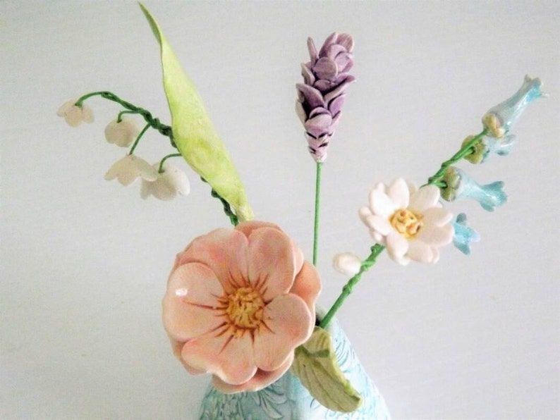 Keramik Englisch Land Garten Blumen In Einer Strukturierten Etsy