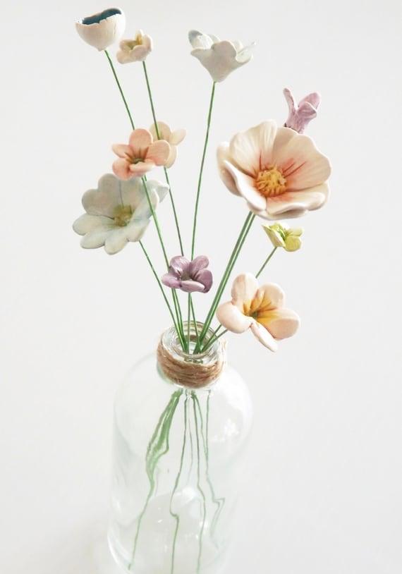 Ceramic Flowers   10 Mixed  Handmade Teeny Tiny Baby  Pottery Clay Flowers And Vase by Etsy