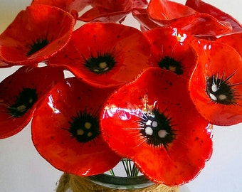 Ceramic Poppy flowers - 5  Fabulous hand crafted pottery poppy flowers remembrance day
