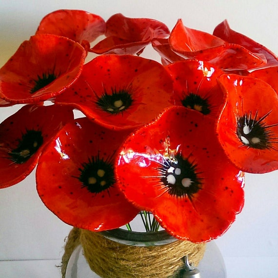 Ceramic poppy flowers 5 fabulous hand crafted pottery poppy etsy image 0 mightylinksfo