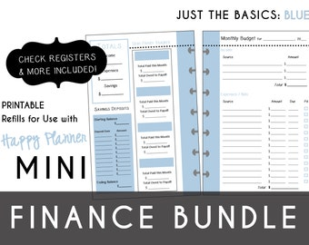 mini happy planner finance bundle check register monthly etsy